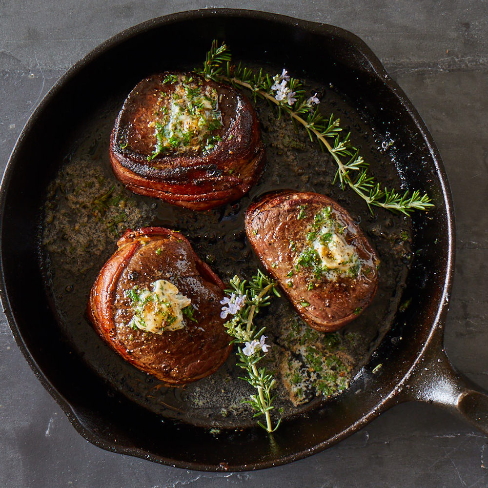 bacon wrapped elk medallions