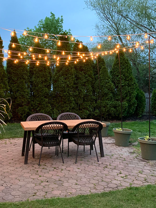 DIY Patio Arbor Using String Lights - The Honeycomb Home on Backyard String Lights Diy  id=51165