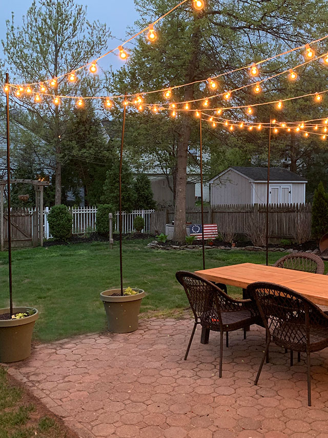 DIY Patio Arbor Using String Lights - The Honeycomb Home on Backyard String Lights Diy  id=27878
