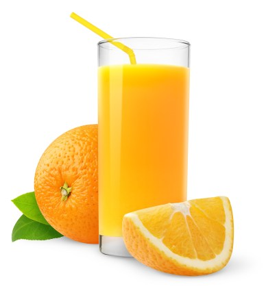 Orange juice bursting with Vitamin C!