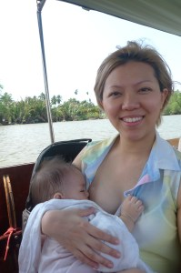 At Maeklong, Thailand. Breastfeeding in public without a cover for the first time.