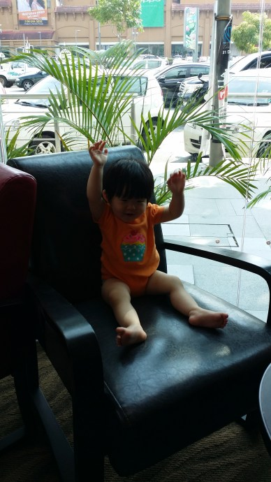 """2 hands up for coffee, daddy!"""