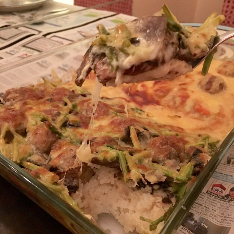 cheesy baked rice recipe Japanese curry sauce cream sauce