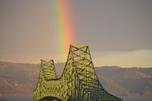 rainbow shining on Astoria-Megler Bridge