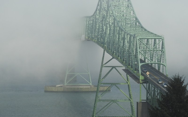 Astoria-Megler Bridge emerging from the fog