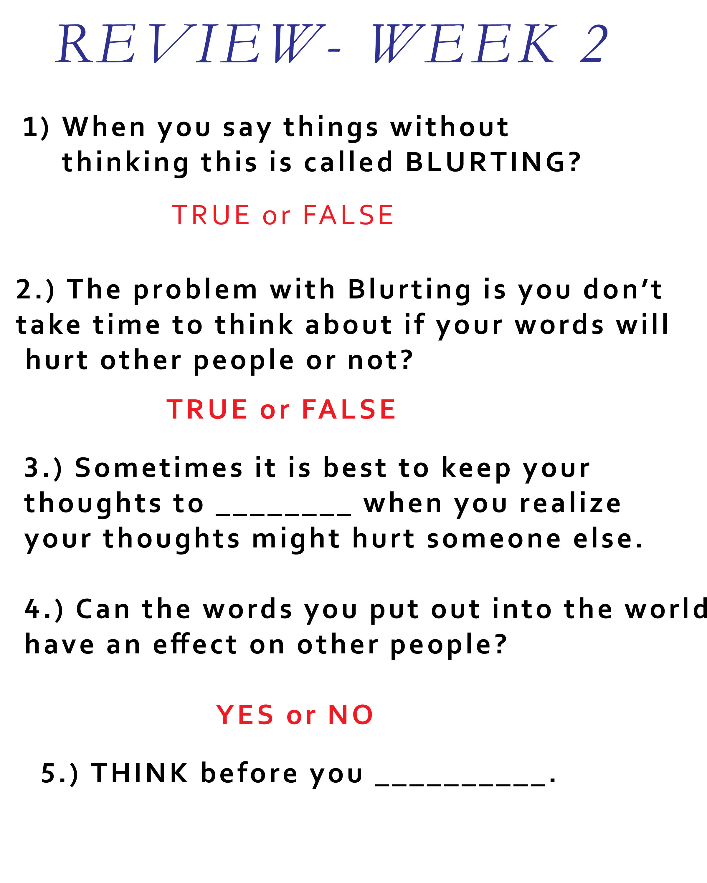 Lesson For This Week Blurting