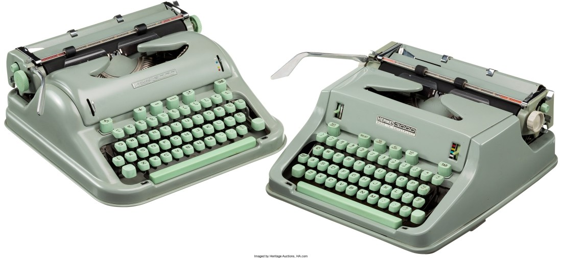 A pair of pale green Hermes 3000 typewriters, made between 1963-1970, which belonged to Larry McMurtry.