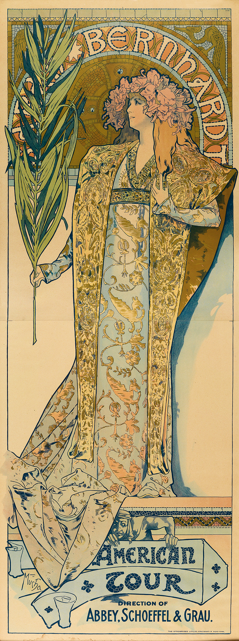 A poster that advertises Sarah Bernhardt's 1896 American Tour. Alphonse Mucha designed it.