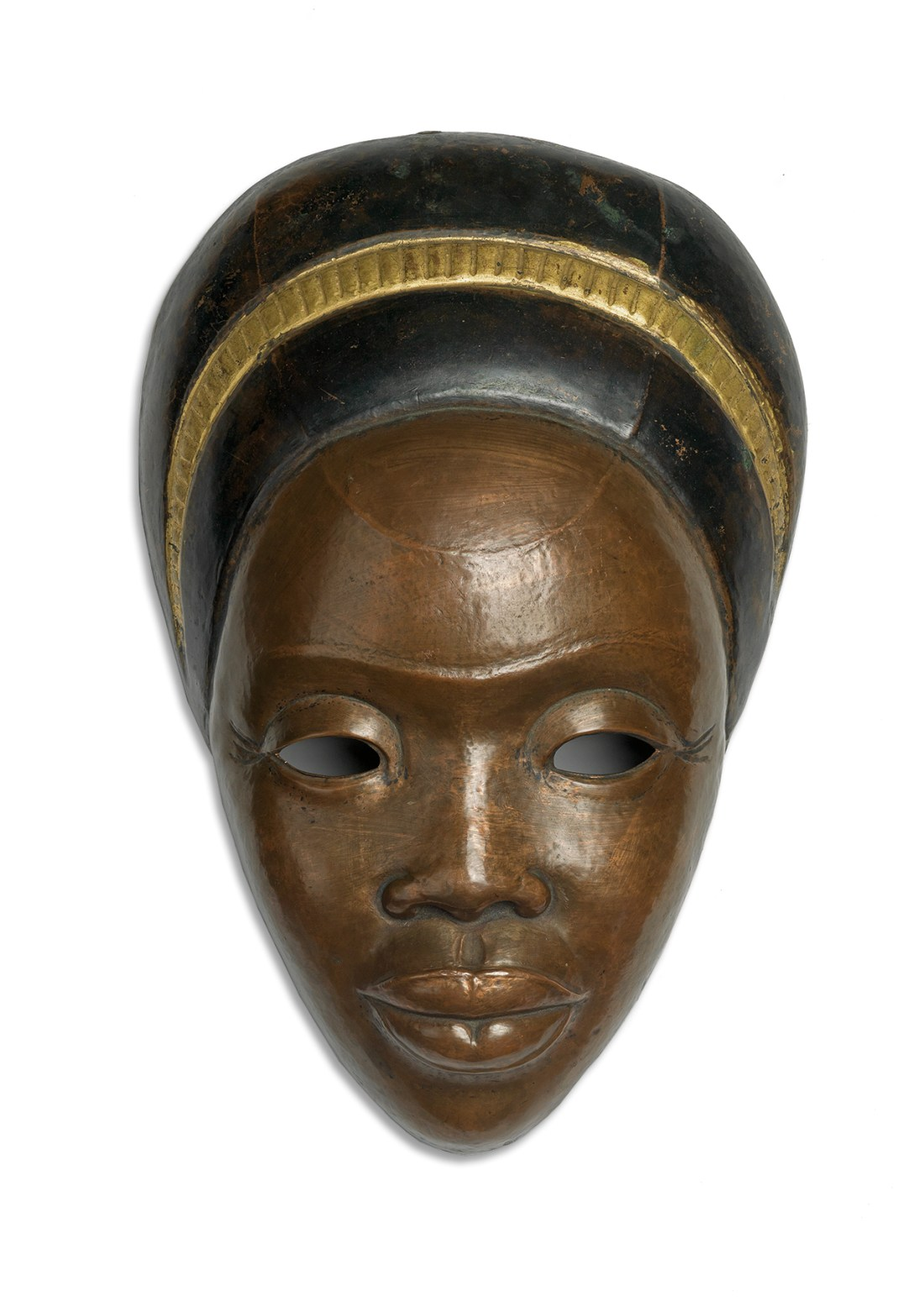 Sargent Johnson's Untitled (Negro Mother), a copper repoussé mask created circa 1935-36. It measures about 12 inches long and is estimated at $80,000 to $120,000.