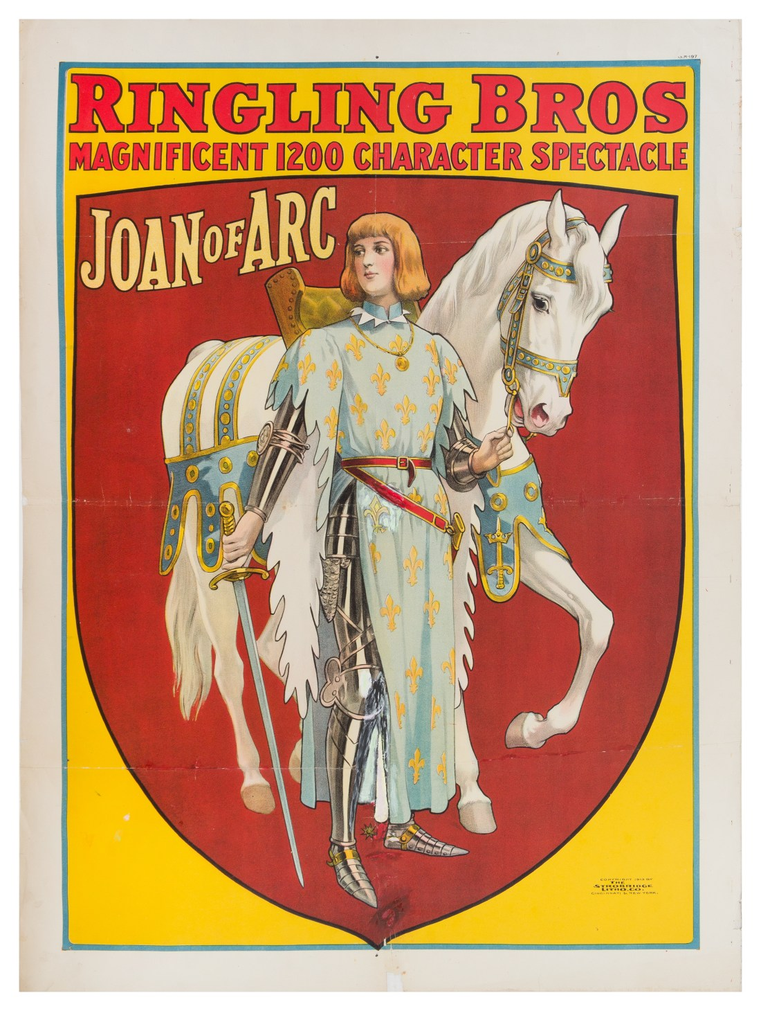 A 1913 poster by Ringling Brothers, featuring Joan of Arc and promising a 'Magnificent 1200 Character Spectacle.' It's from the Richard Bennett Collection of Circus Memorabilia.