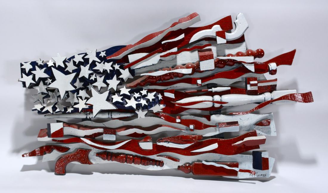 "An undated piece by American folk artist Ab the Flag Man. It is described as a ""Medium Size American Flag."""