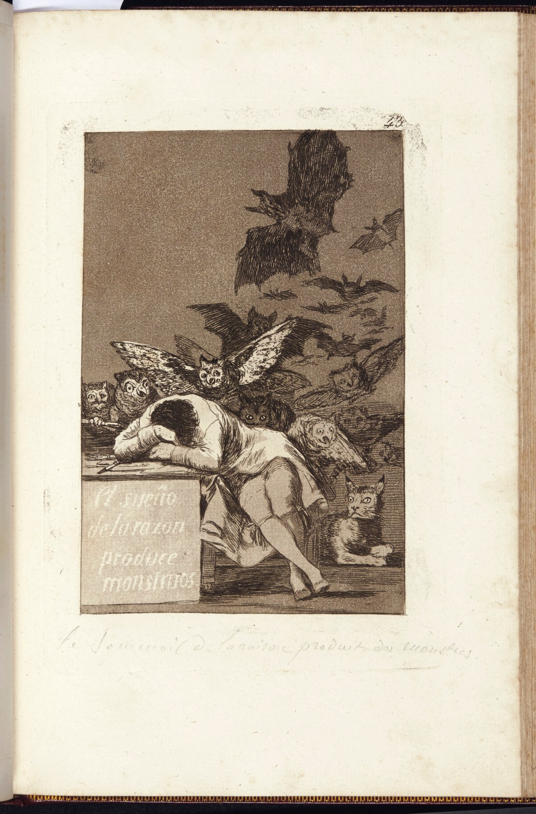 A presentation copy of the first edition of Francisco Goya's Los Caprichos, from 1799. Specifically, you see plate 43--what might be its most famous image--The Sleep of Reason Produces Monsters.