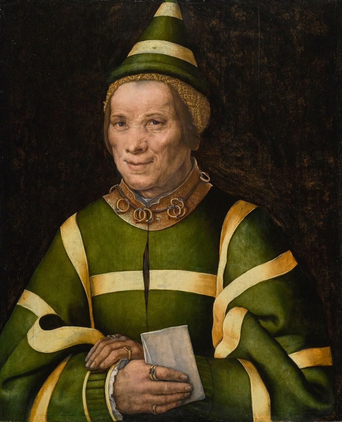A 16th century oil on oak panel portrait of Elisabet, court fool of Anne of Hungary, painted by Jan Sanders van Hemessen.