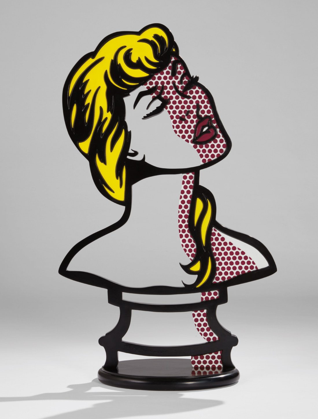 Woman: Sunlight, Moonlight, a 1996 limited edition painted and patinated bronze sculpture by Roy Lichtenstein. Phillips New York sold it in May 2017 for $10.3 million, an auction record for a sculpture by the artist.