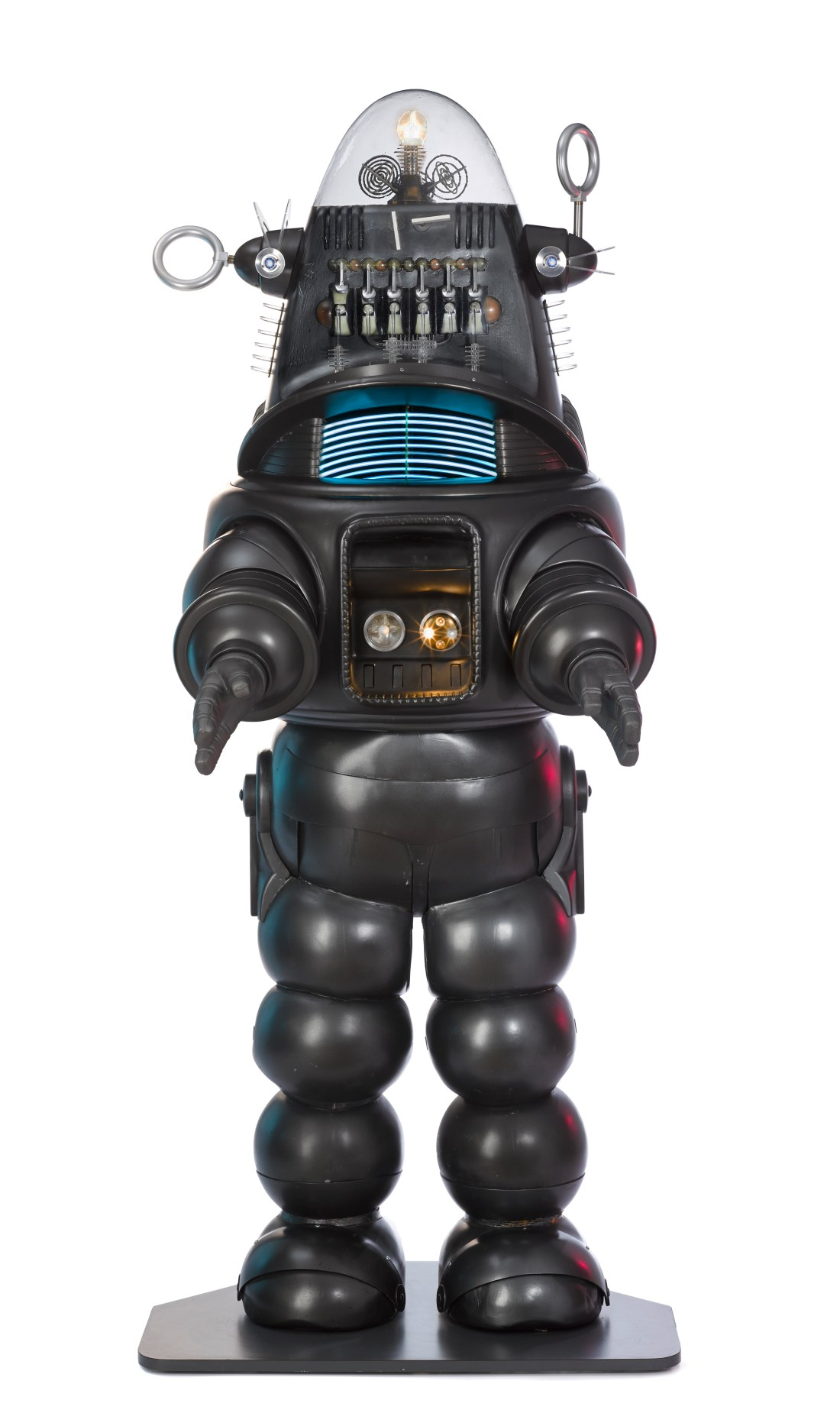 The original Robby the Robot suit, created for the 1956 MGM sci-fi film Forbidden Planet. It was offered along with a jeep used in the film. It sold in November 2017 for $5.3 million--a world auction record for a screen-used prop.