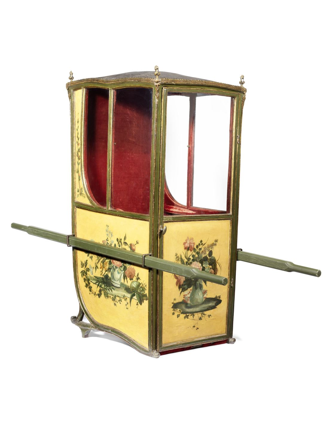 A French late 19th century polychrome decorated and parcel gilt sedan chair.