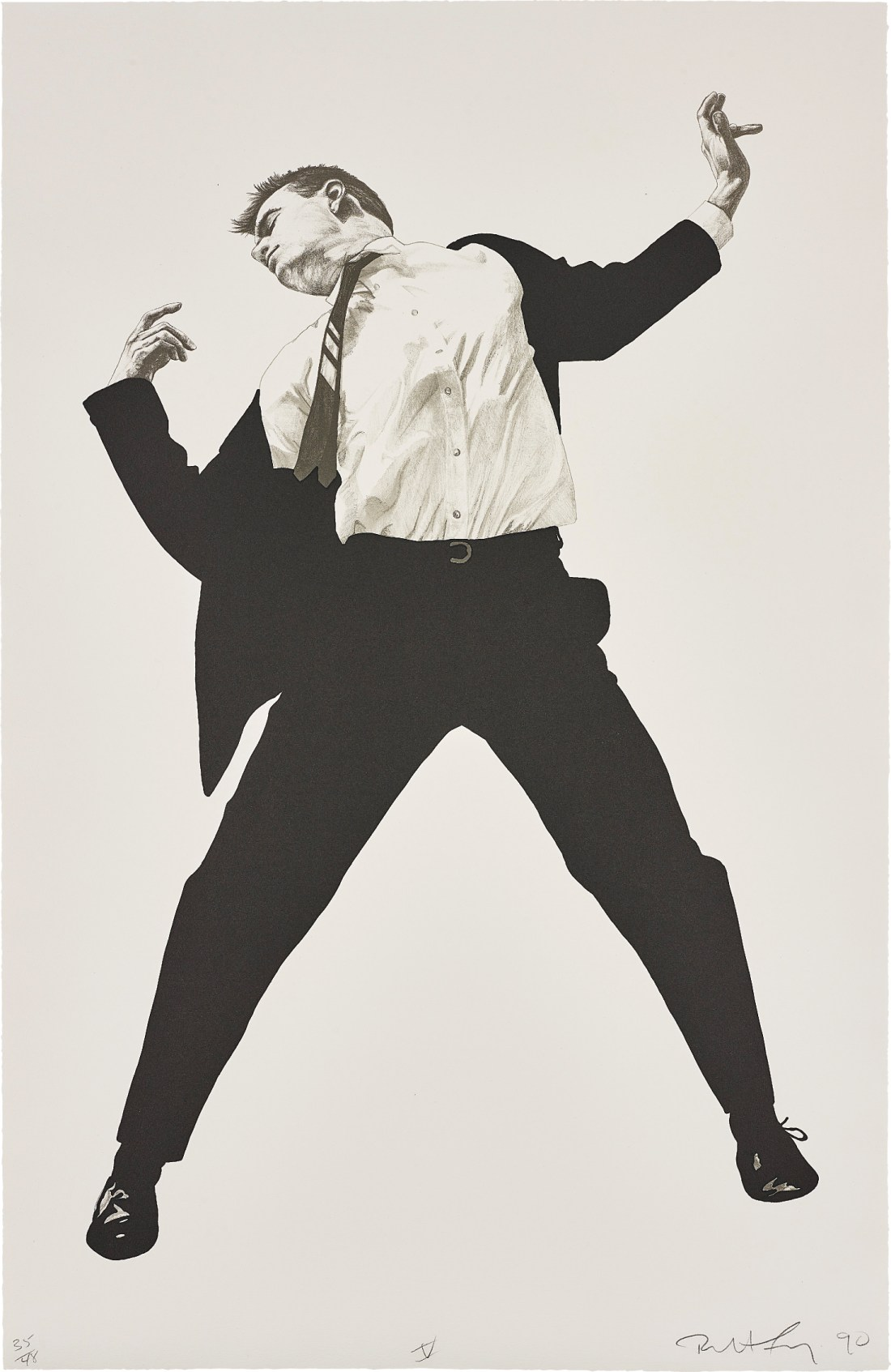 Untitled V, from Men in the Cities, a 1990 lithograph by Robert Longo. It's number 35 of a run of 48.