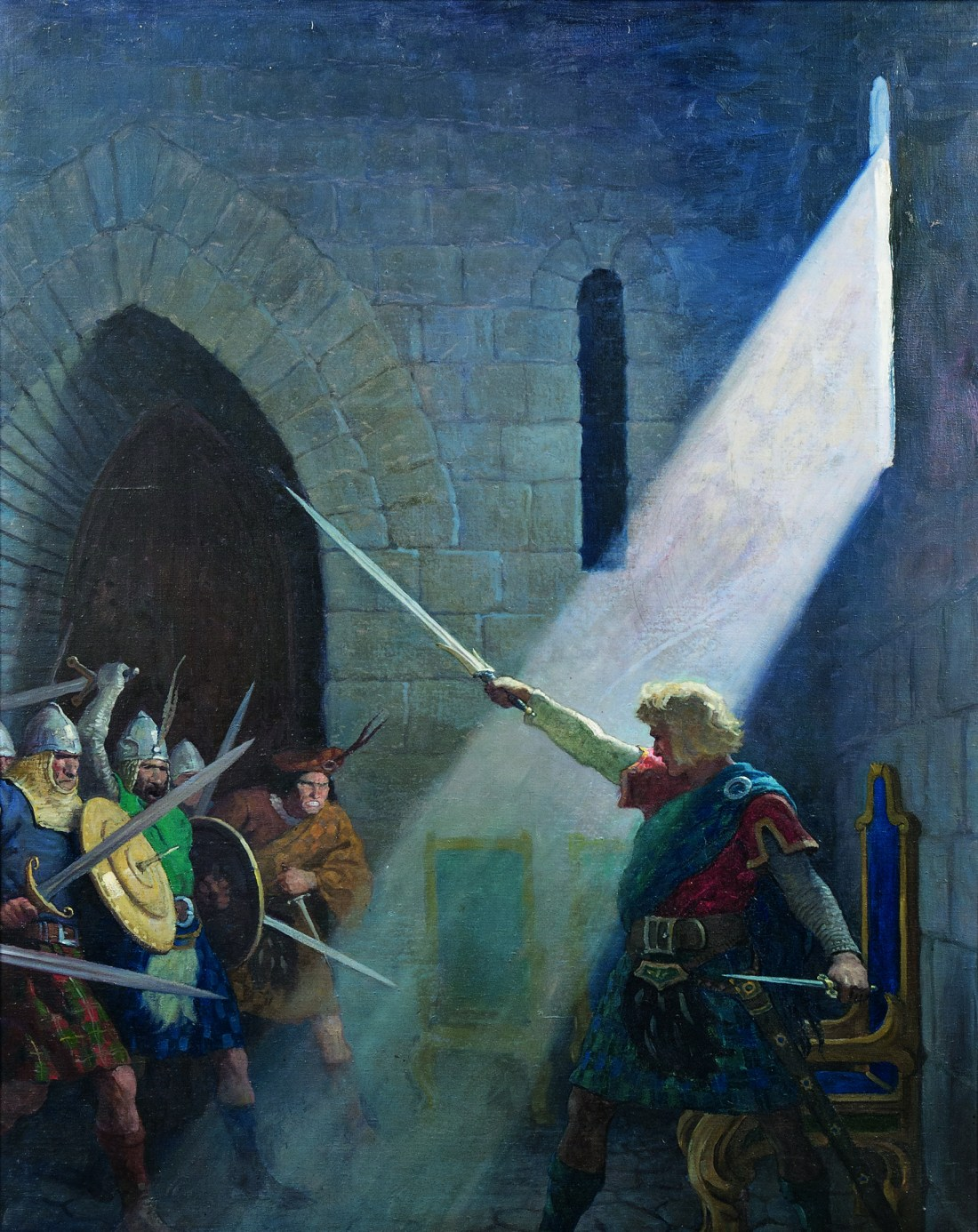 Wallace Draws the King's Sword, an illustration that N.C. Wyeth painted for the 1921 book The Scottish Chiefs.