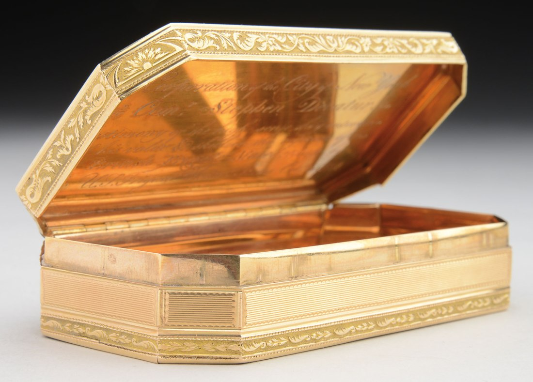 A 18-karat gold freedom box awarded to Commodore Stephen Decatur by the City of New York in 1812.