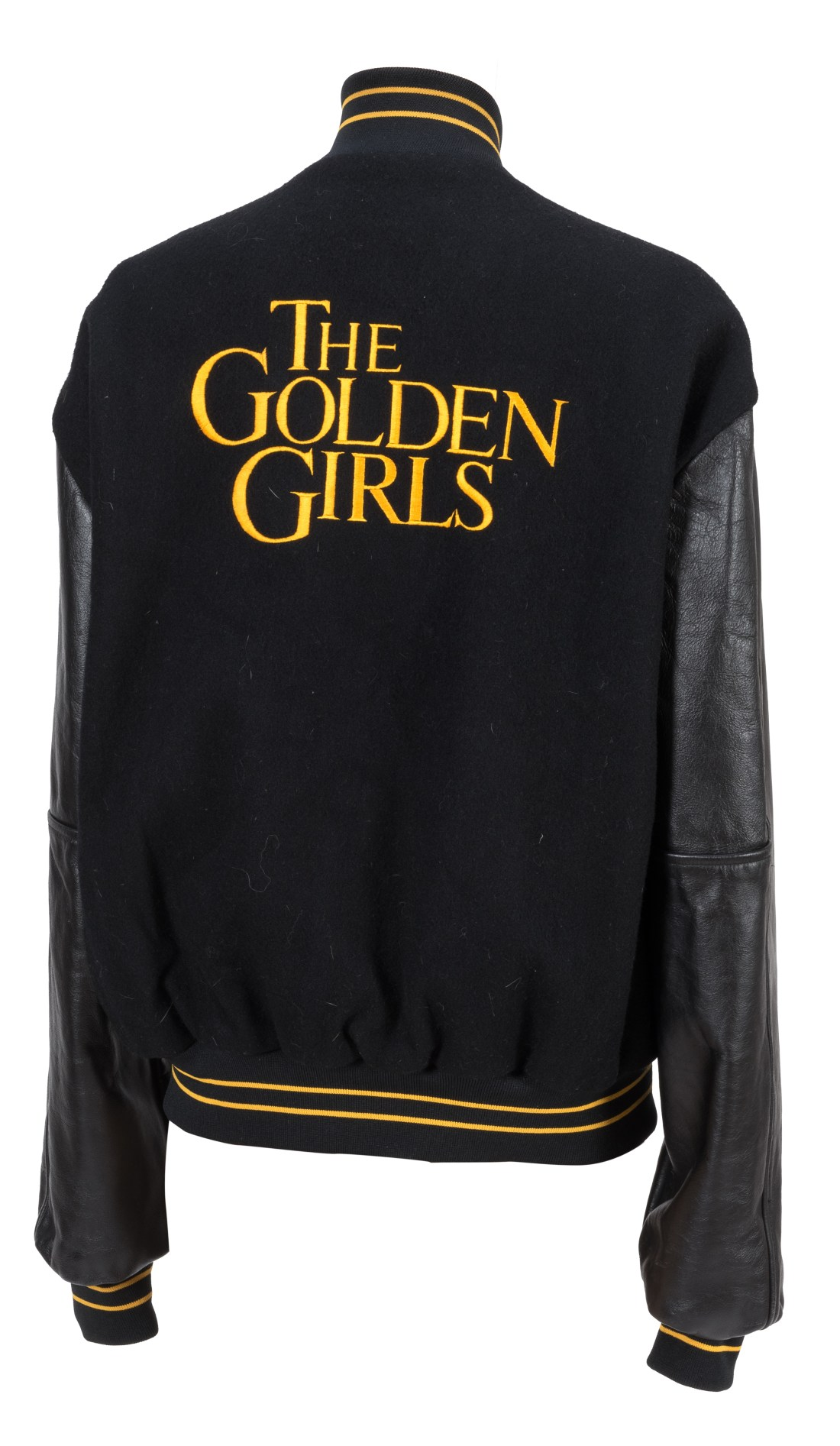 A circa 1980s wool, leather, and nylon Golden Girls letterman jacket, size L, personalized for Rue McClanahan. It's one of four; the other three went to her co-stars on the beloved sitcom. It comes with a Certificate of Authenticity (COA) from McClanahan's estate.