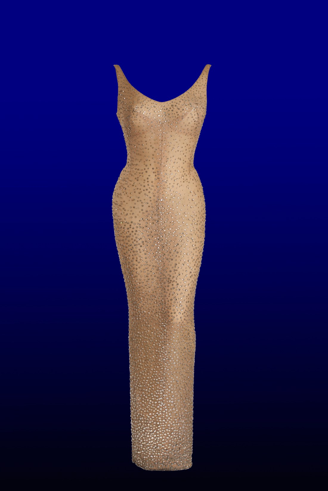 Marilyn Monroe's Happy Birthday Mr. President dress is flesh-colored and covered with 2,500 crystals that were hand-sewn on.