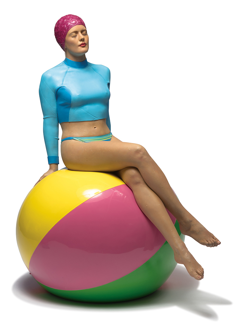 Bibi on the Ball, a 2015 oil on resin sculpture by Carole Feuerman. It's the first of an edition of six.