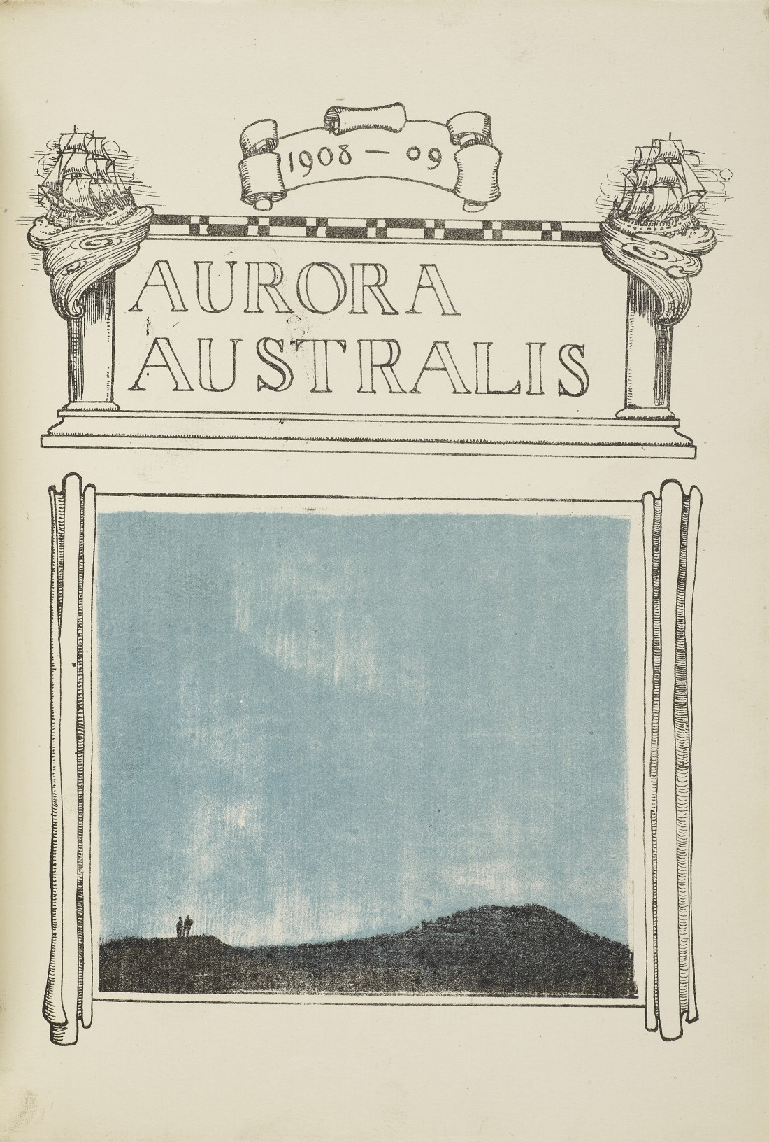 A copy of Aurora Australis, created by members of the 1908-1909 British Antarctic Expedition, led by Ernest Shackleton. It is the first book to be written and produced on the continent of Antarctica.