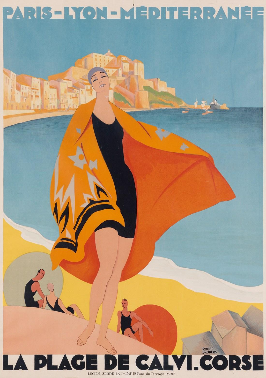 La Place de Calvi. Corse, a 1928 poster by Roger Broders, touting Calvi Beach on the Mediterranean island of Corsica.