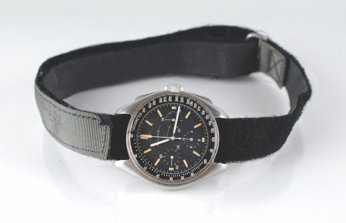 The Bulova chronograph that astronaut David Scott wore on the surface of the moon during the Apollo 15 mission, shown in full.