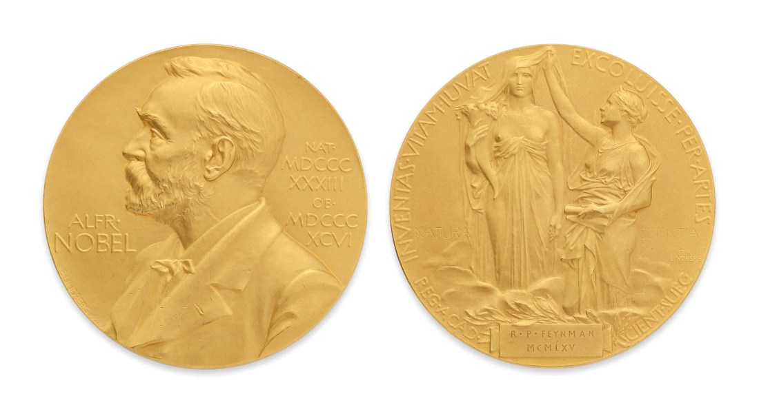The Nobel Prize for Physics, awarded to Richard Feynman in 1965 for his contributions to creating a new quantum electrodynamics.