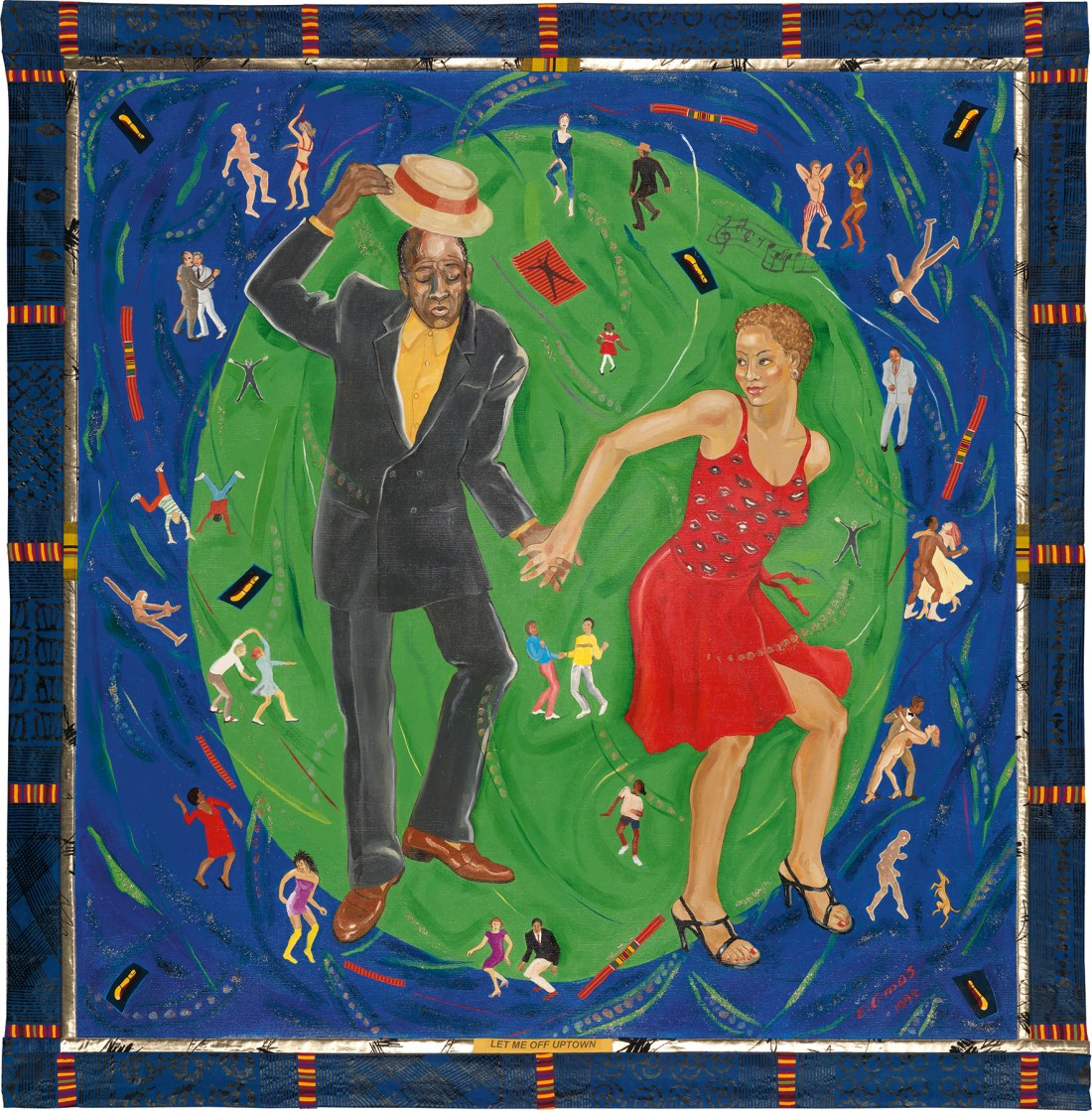 Emma Amos's mixed-media work Let Me Off Uptown is a large, square piece that showcases a dancing couple who hold hands. The black, besuited gentleman dancer tips his hat to the light-skinned woman, who has black stiletto heels and a spaghetti-strap red dress that falls to the knee. A green circle behind the couple draws the eye to them. Tiny figures appear across the background. All are jubilant. Most are dancing. All races and ages are represented, and there's at least one dancing dog.