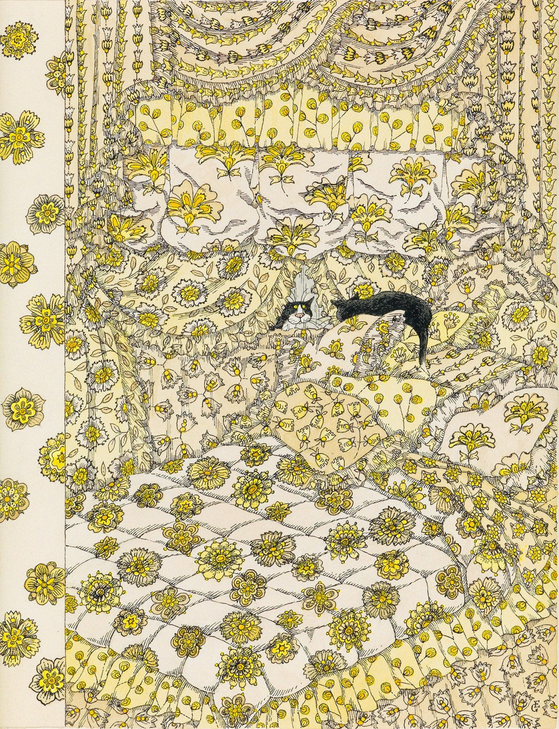 A New Yorker cover by the late Edward Gorey. It depicts two tuxedo cats looking at each other on an oversize bed, fitted with ruffles, shams, and pillows festooned with intricate yellow flowers.