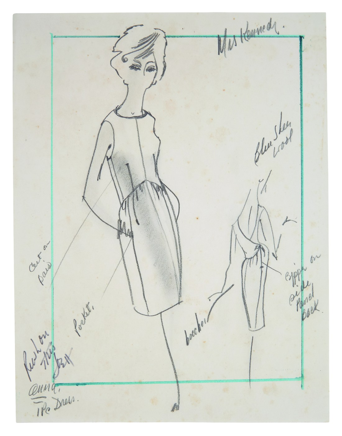 Fashion drawing done for First Lady Jackie Kennedy by a member of the House of Cassini.
