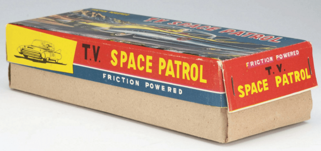 An angle on the TV Space Patrol toy car's box, showing it from the side.
