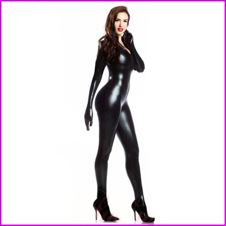Leather Long Sleeve Sexy Mistress Jumpsuit