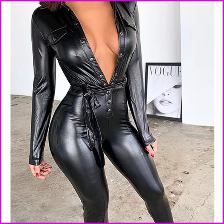 Women's Sexy Faux Leather Long Sleeve Quality Jumpsuit