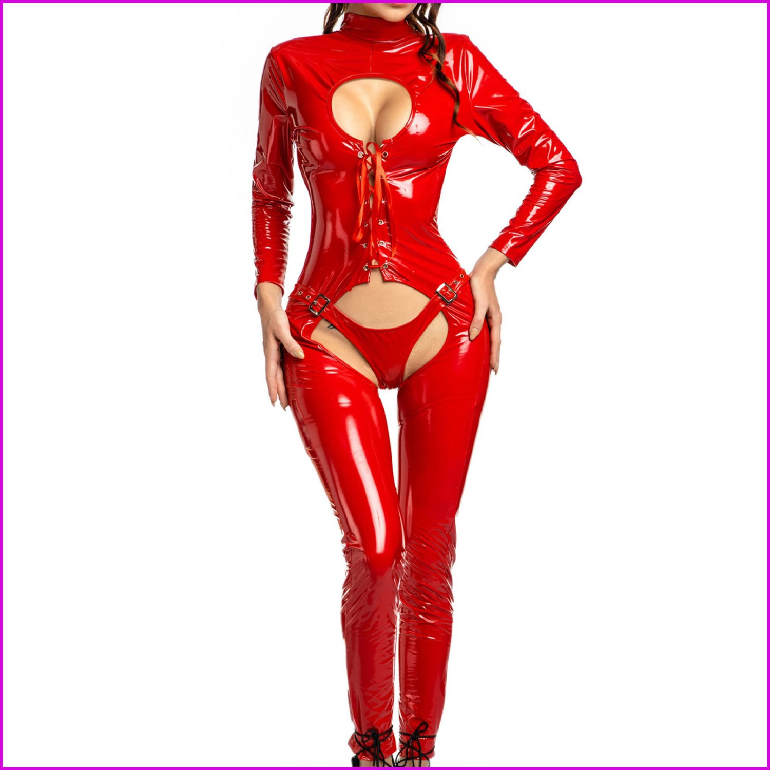 Latex Open Crotch High Quality Shiny Leather Bodysuit