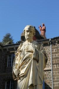 St. Joseph, white statue near church