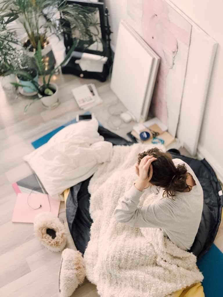home school help, woman under blanket