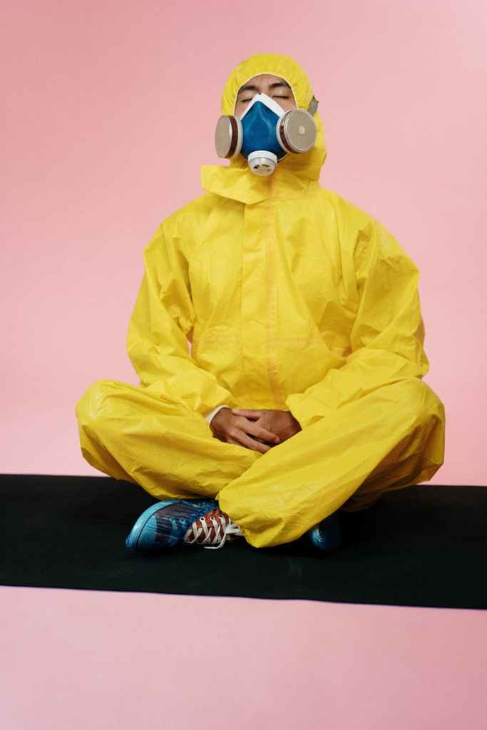 health tips, man in yellow wearing face mask