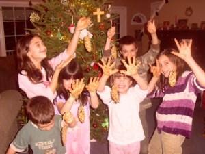homeschooling, kids showing sticky hands