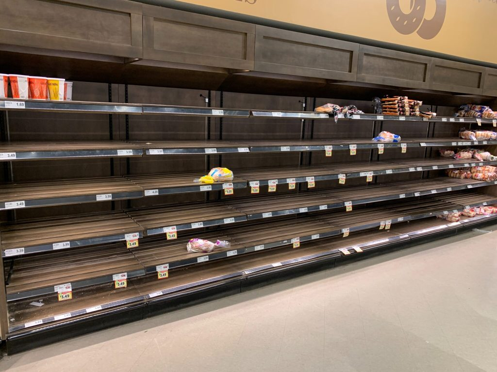 nearly empty grocery store shelves