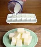 Ice tray, cubes, milk