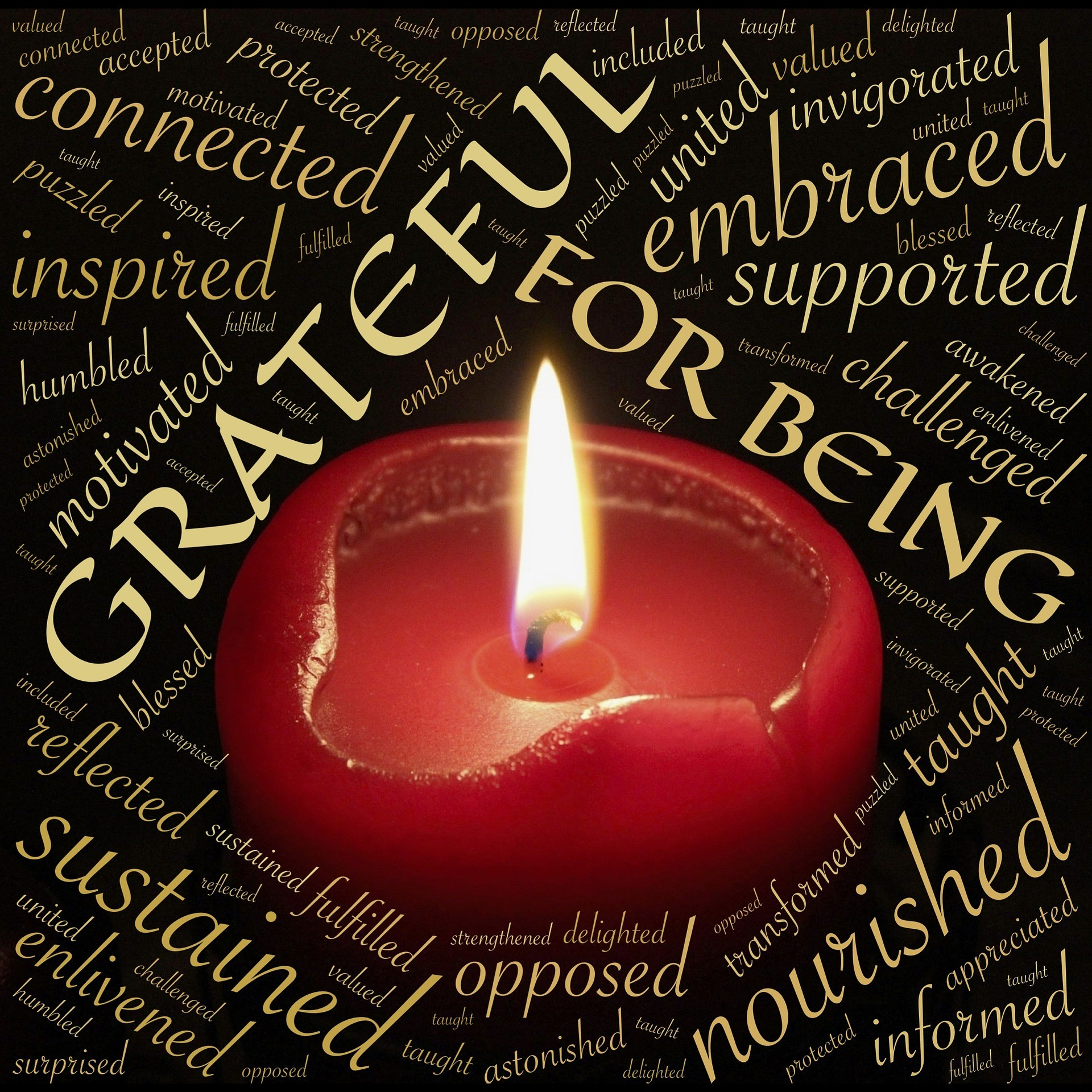 Candle, gratitude