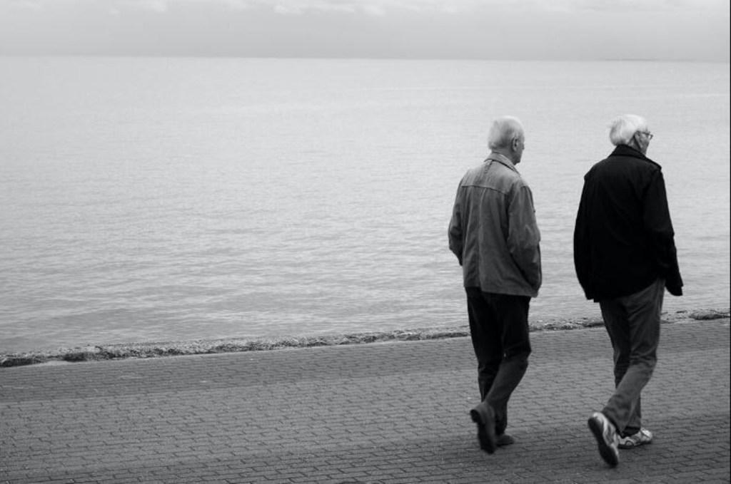 DNA test, two men walking