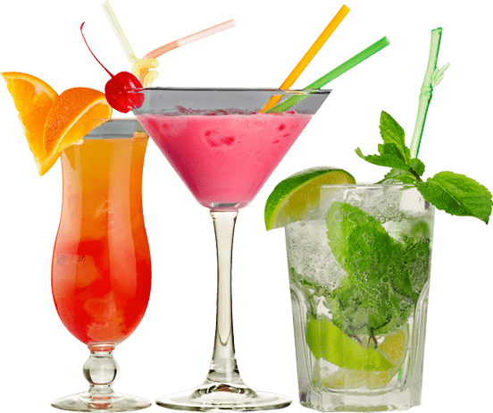 Glasses with cocktails