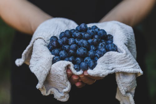 improve memory performance, hands holding cloth full of blueberries