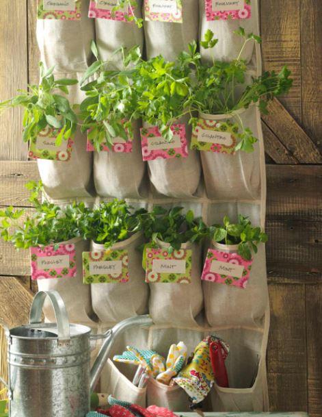 Herb planters, shoe bag