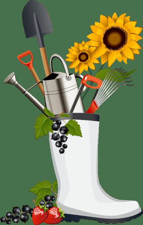 planters, garden tools, boot
