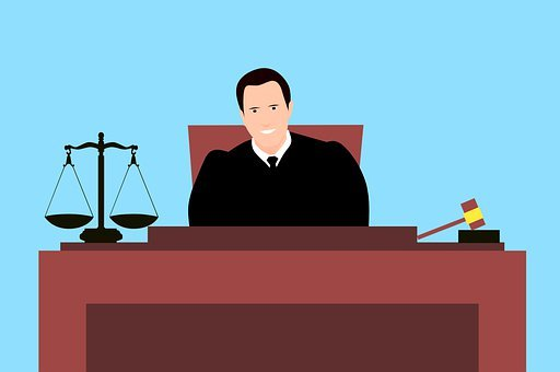 cartoon drawing of a male judge in court